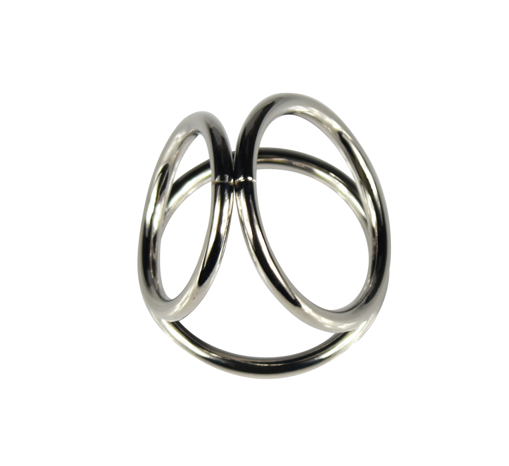 Гаджет  1PCS Men Metal Penis Delay Cock Ring Triple Stainless Steel Cock Ball Stretcher Delay Ring Freeshipping None Красота и здоровье
