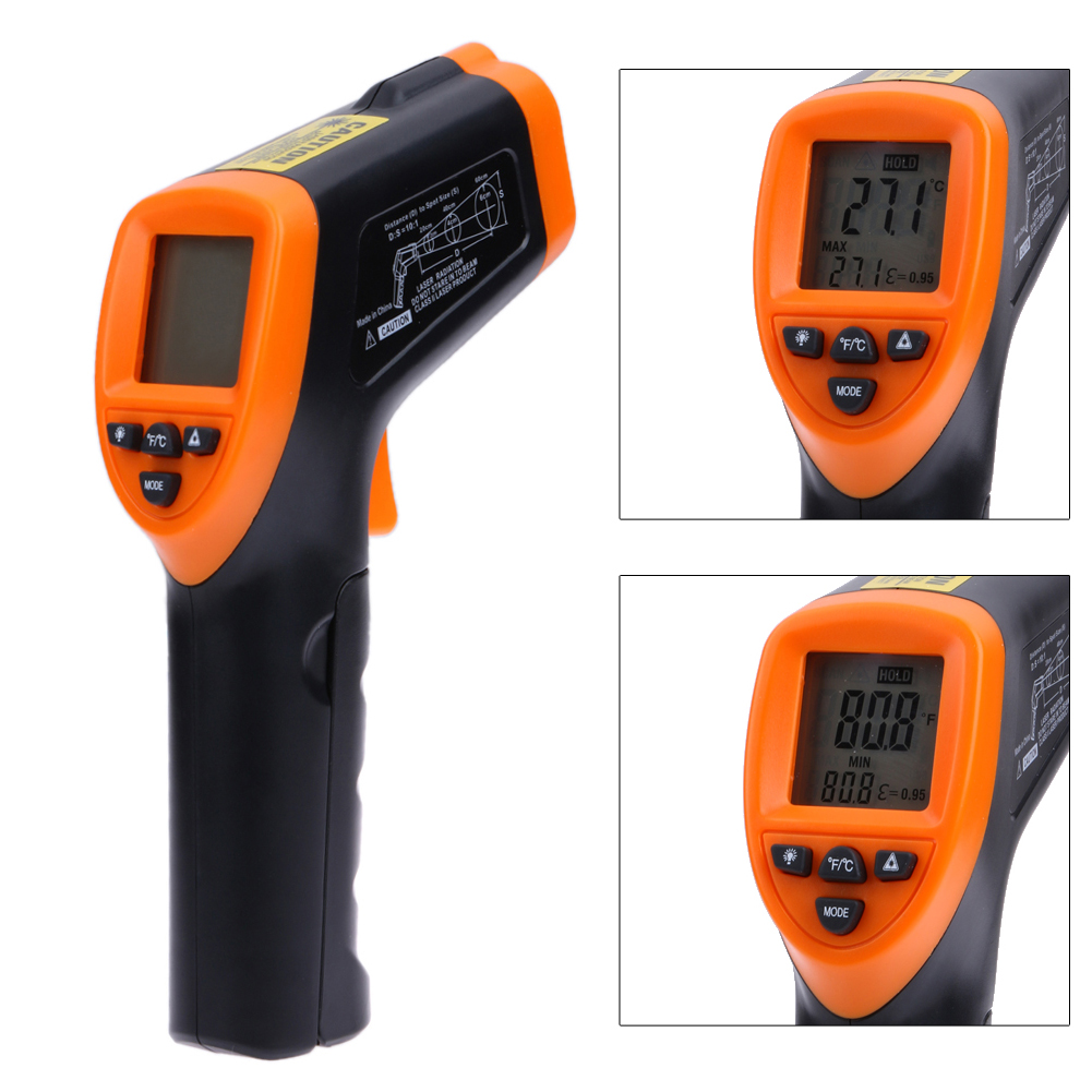 -50~550C Range Handheld High Precision Non-contact Infrared IR Laser Digital Thermometer Electronic Temperature Gun 5-14um(China (Mainland))