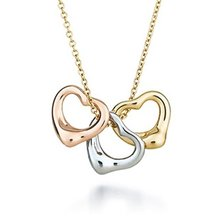 Wholesale popular three color 18K rose gold yellow gold and sterling silver open heart pendant vintage new fashion necklace gift(China (Mainland))
