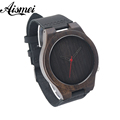 2016 Hot Marketing Mens Fashion black Leather Bamboo Wooden Watches Analog Quartz Wrist Watch with box