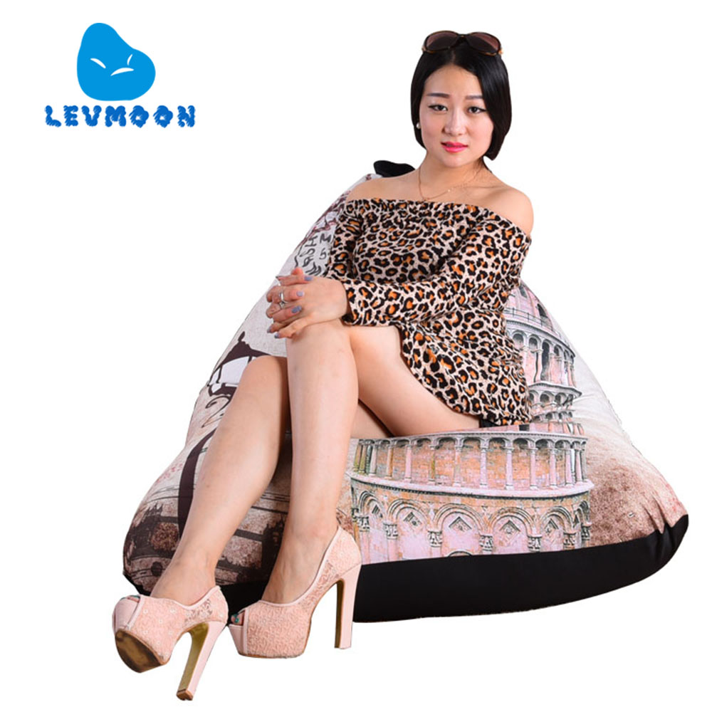 LEVMOON Beanbag Sofa Leaning Tower of Pisa Seat Zac Comfort Bean Bag Bed Cover Without Filler Cotton Indoor Beanbag Lounge Chair(China (Mainland))