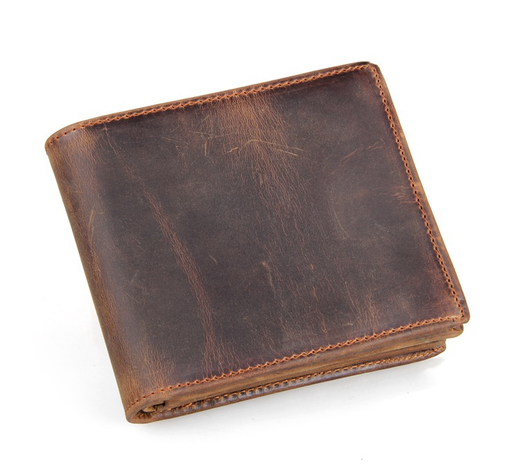 Maxdo High Quality Vintage Brown 100 Real Genuine Leather Crazy Horse Leather Men Wallets Cowhide Card
