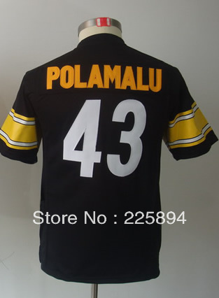 Wholesale & Retail American Football Kids' Jersey #43 Troy Polamalu Youth Game Team Orange Football Jersey (Sewn Jersey)(China (Mainland))