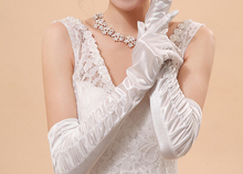 sexy Satin Ruched elegant Suede gloves accessories for Bride Bridesmaid gloves Fancy Dress Costume 3 colors
