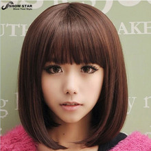 Blonde Short Dark Brown Wig Perruque Naturelle Courte Synthetic Women Cute Fringe Straight Bob Cosplay Wig Heat Resistant Hair(China (Mainland))