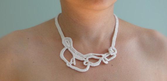 vintage Crochet lace Collar Choker Necklace Wedding necklace reversible necklace fiber fringes necklace, boho chic 5 pcs/lot