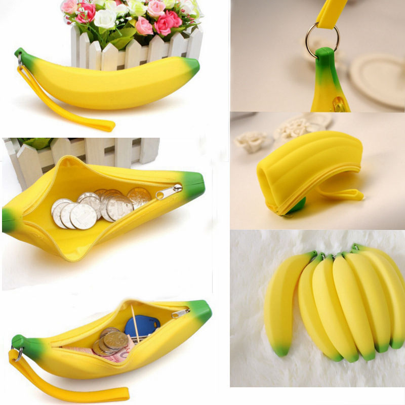 1 X Unisex Men Women Girls Novelty Silicone Portable Banana Coin Pencil Case Purse Bag Wallet Pouch Keyring(China (Mainland))