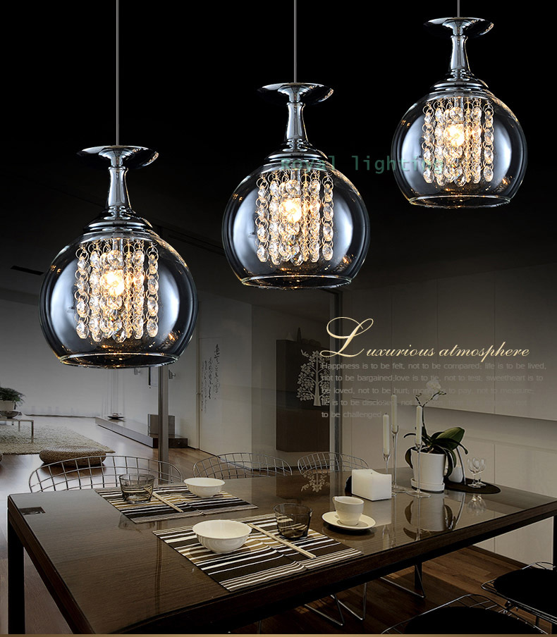 3 lights bar crystal pendant lamps led hanging light glass for Dining room 3 pendant lights