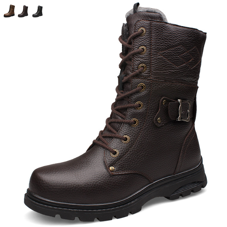 Big size genuine leather men boots Winter man snow boot ankle shoes velvet warm high martin cowboy motorcycle flats lace up 548