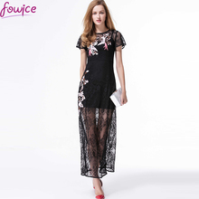 Buy New Arrival 2017 Spring Embroidery Flowers Birds Perspective Sexy Lace Long Dress Short Sleeve O-neck Fake Two Maxi Dress for $45.36 in AliExpress store
