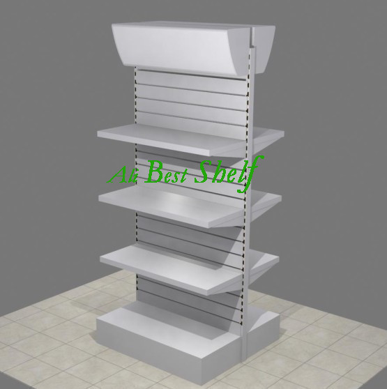 2014 new design shelf manufacture cheap double-side supermarket shelves display with light box(China (Mainland))