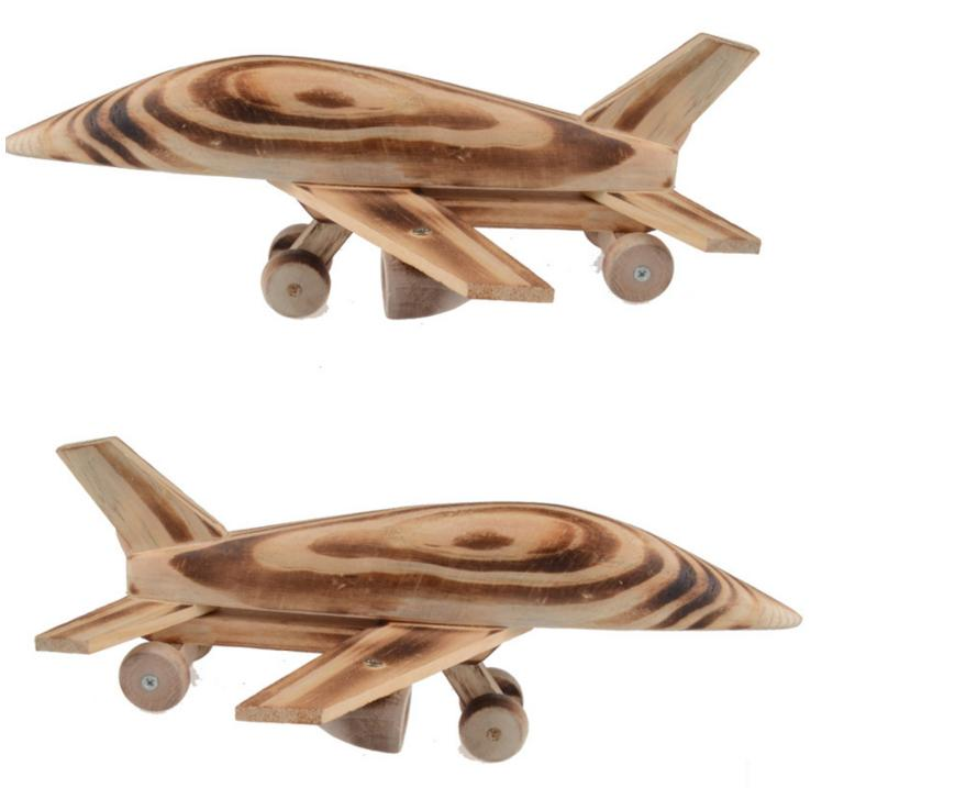 Children wooden plane model toys/ Kids wood 26cm long aviation Aircraft with wheels pull back vehicle die cast toys(China (Mainland))