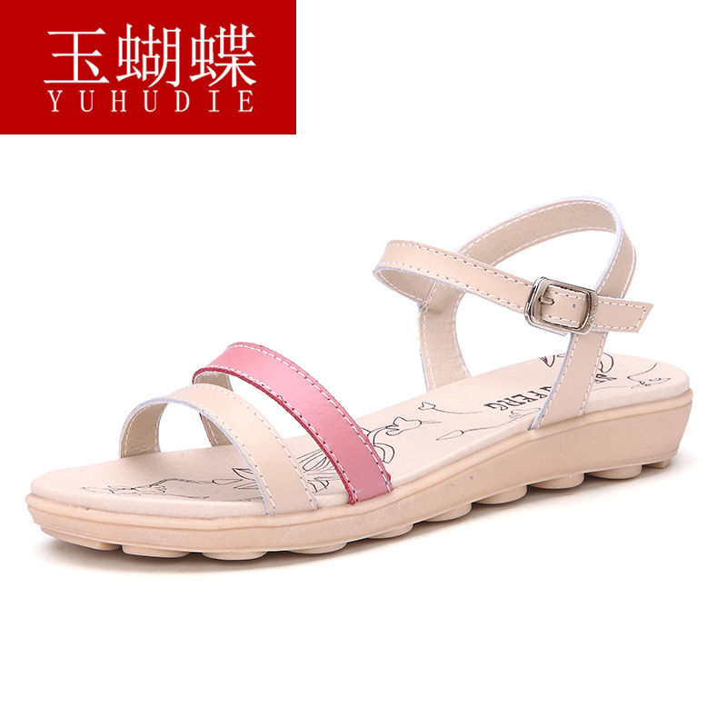 Summer Style 2016 Fashion Genuine Leather Sandals Women Shoes Casual Flat Sandals Buckle Strap Beach Shoes Sandalias Mujer