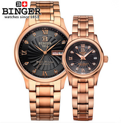 Original Binger 2015 New Wholesale Steel gold  Band Wrist Watches Couple Watch Free&amp;Drop Shipping Lovers wristwatch<br><br>Aliexpress
