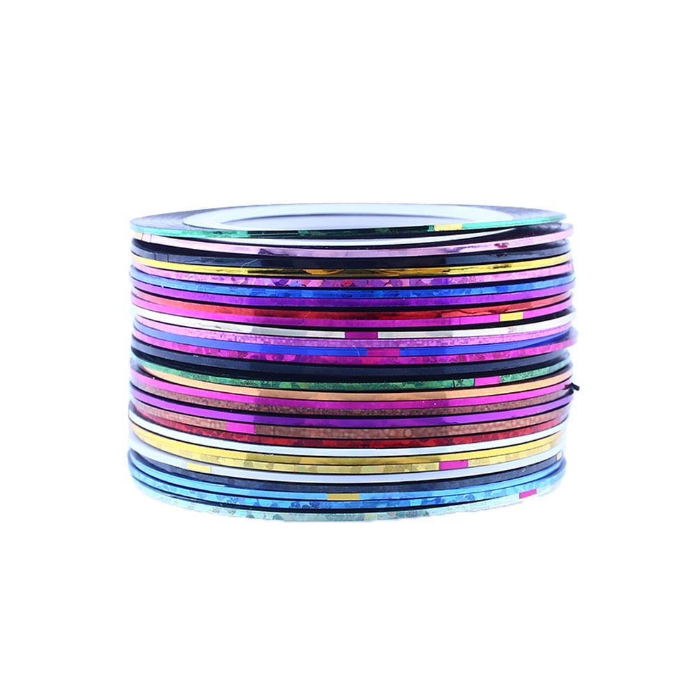 Fashion New Charm 30Pcs Mixed Colors Rolls Nail Art Striping Tape Line Tips Decoration Nail Stickers(China (Mainland))