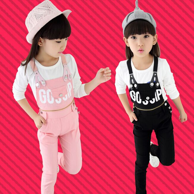 2016 Autumn New Big Girls Children's Clothing Sets ( T-shirts + Pants ) Kids Detachable Overalls Pullover Clothes Sports Jogging(China (Mainland))