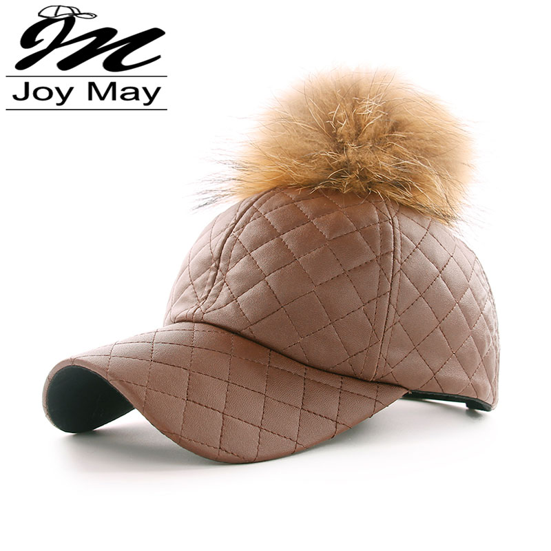 winter PU Leather Baseball Cap with Pom Pom Biker Trucker outdoor Sports snapback Hats For Men women WM044(China (Mainland))