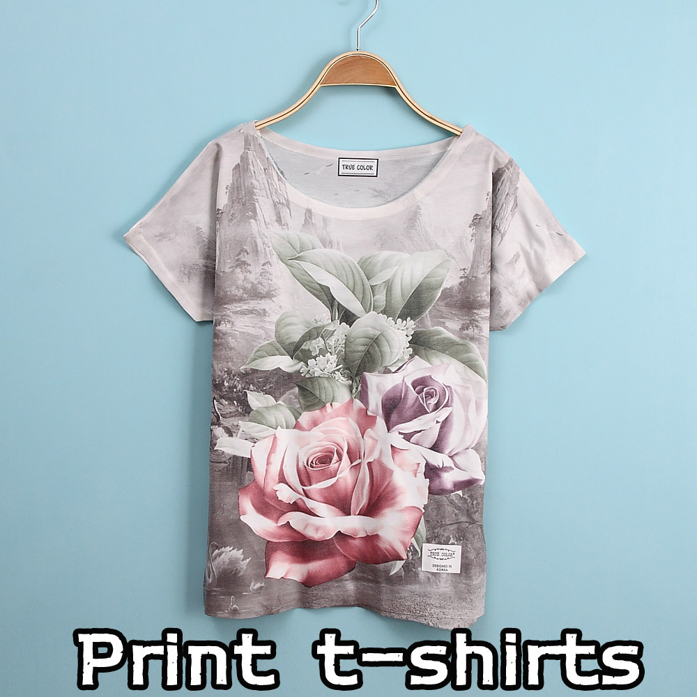 New Summer Style Rose Printing Short Sleeves Women 39 S T