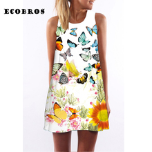 Buy ECOBROS 2017 New Woman Summer Dress casual sleeveless Loose butterfly print knee dresses plus size woman clothing dress for $7.99 in AliExpress store