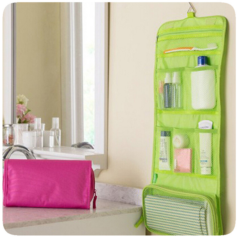 New Canvas Storage Bag Travel Portable Wash Items Organizer Folding Bag Waterproof Bathroom Hanging Wardrobe Wall Storage Bags(China (Mainland))