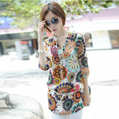 blusas feminina 2015 new summer tops ladies Loose shirt women blouses printed chiffon long blouse woman clothes plus size S~XXL(China (Mainland))