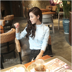 2015 Autumn New Fashion Women Clothes Ruffled Collar Solid Color Elegant Shirt Ladies Blouse Formal Work Shirts Tops