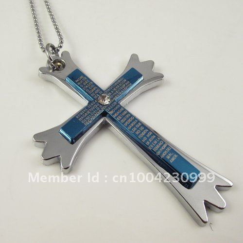 10pcs/lot free shipping stainless steel best selling steel blue men's cross style pendant mens cheap promotion wholesale retail