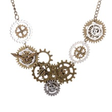 2016 Newest Various Gears Combined DIY Steampunk Necklace Vintage Bronze Ox And Antique Silver Mixed