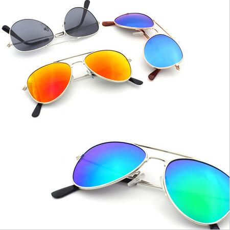 Retail New 2015 Hot Sale Kid's Mirror Coating Aviator Sunglasses Girls Boys Children Sun Glasses(China (Mainland))