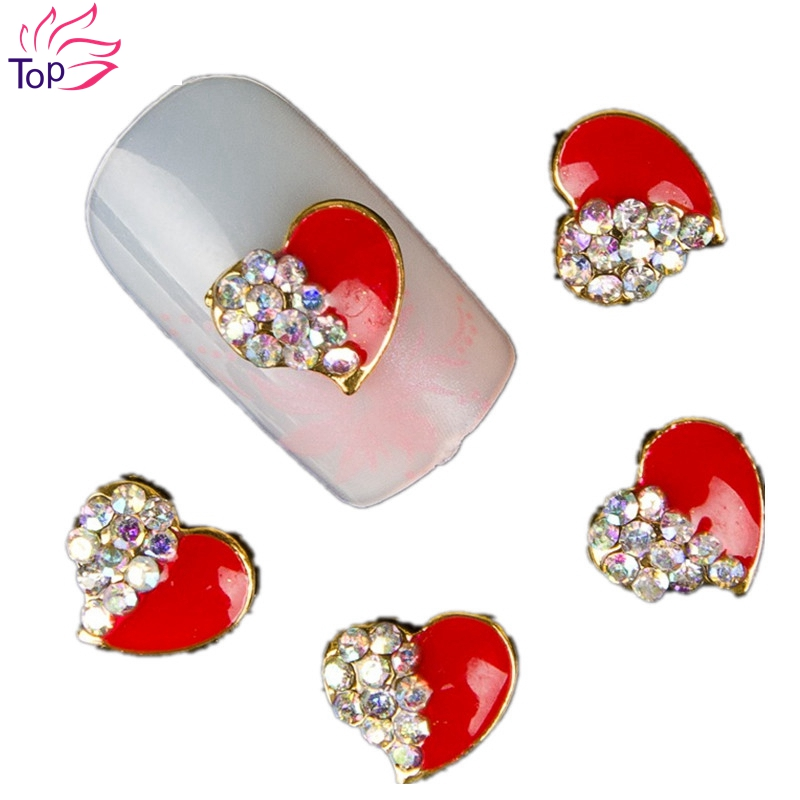 10 Pcs/lot Love Heart 3D Nail Art Tools Stones Crystal Rhinestone For Nails Alloy Decoration Nail Art Glitters DIY TN044<br><br>Aliexpress
