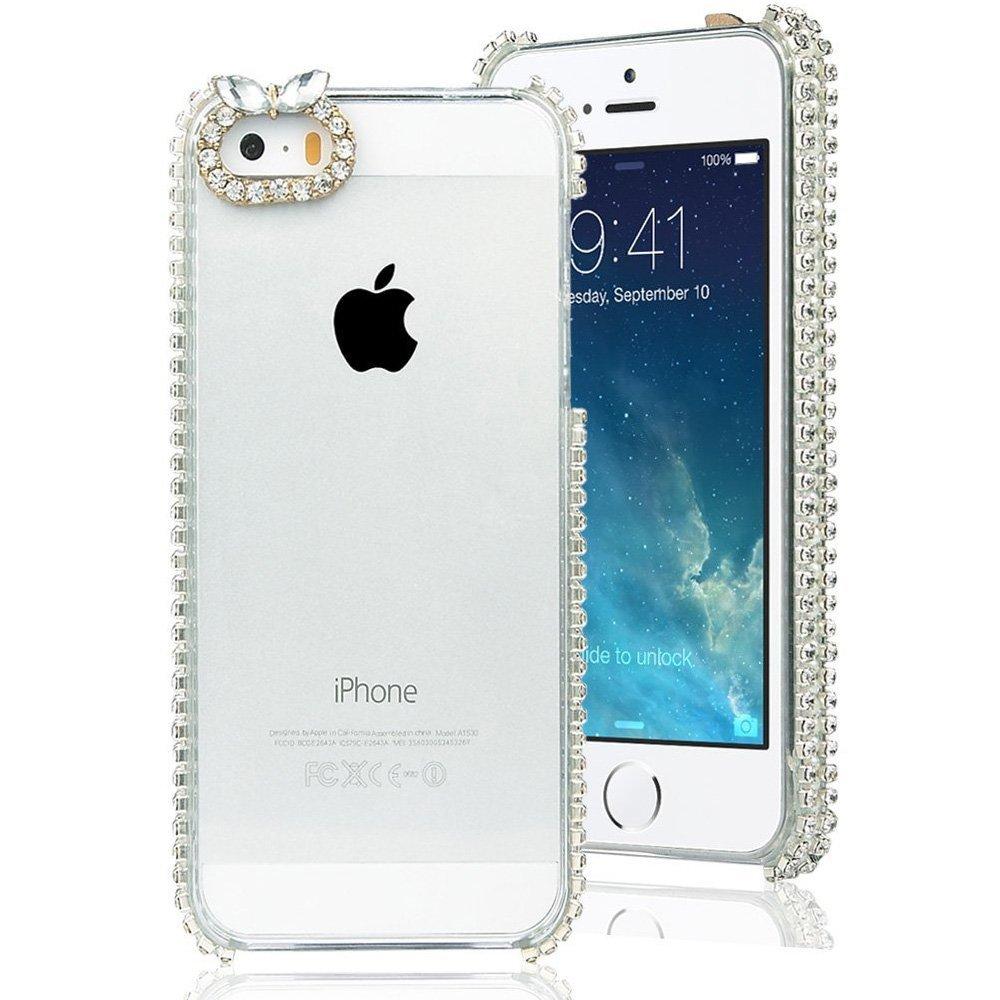 ULAK Cute Hybird Crystal Rhinestone Clear Case for Apple iPhone 5S/5 3D Bling diamante Decorated Jewelry Back Hard Cover(China (Mainland))