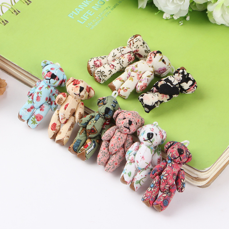 Wholesale 12 pcs 4.5 cm plush toy teddy bear cartoon cloth dolls fabric join bears creative DIY handmade jewelry accessories(China (Mainland))