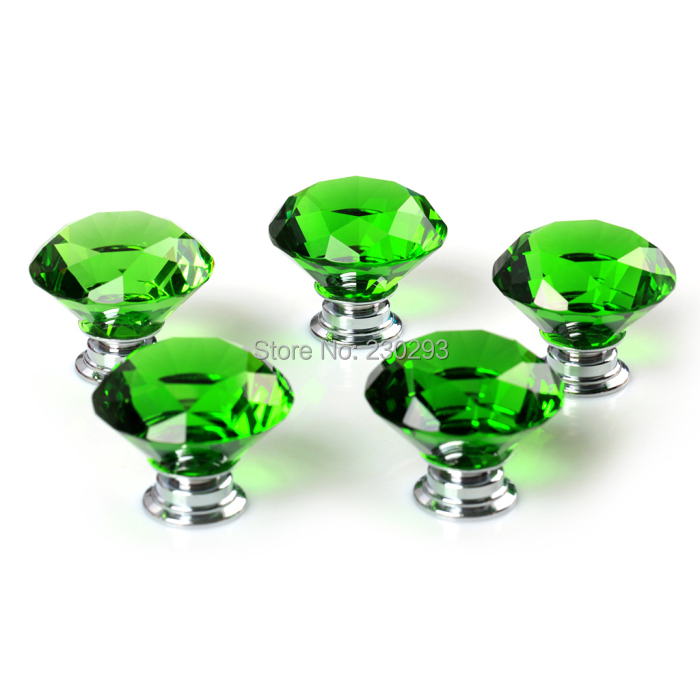 9PCS/LOT 30mm Green Crystal Diamond Shaped Glass Furniture Handles Drawer Knobs Cupboard Drawer Pulls Hardware for Furniture(China (Mainland))