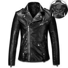 New Men leather jacket high quality punk leather Crystal Skull motorcycle jacket men slim jacket men rock style clothing K477(China (Mainland))