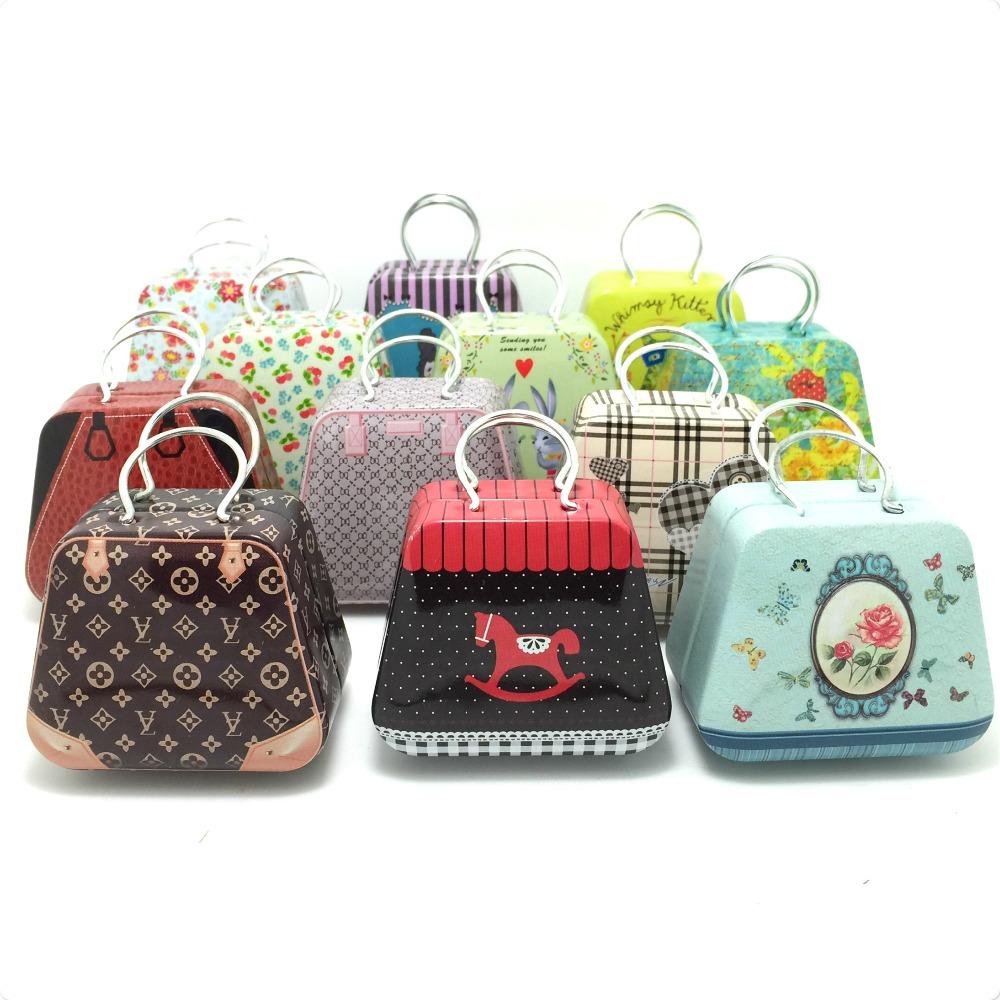 2015 new Handbag mini storage tin box small candy box cute iron box 12 different design 3.5x5.5X3.5cm 12pcs/set(China (Mainland))