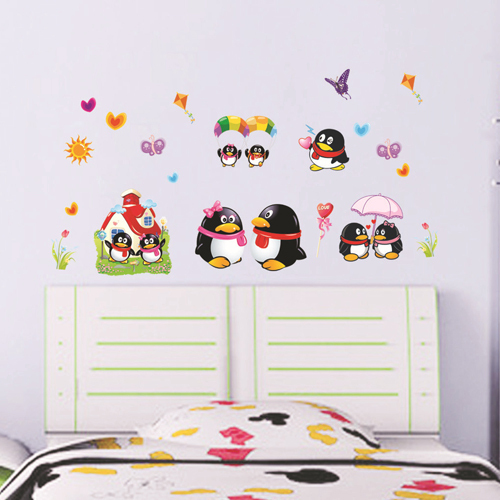 1 set 20*40 Inch Removable PVC Decals Kids DIY Cartoon QQ Penguin Wall Stickers Art Home Bedroom Decor(China (Mainland))