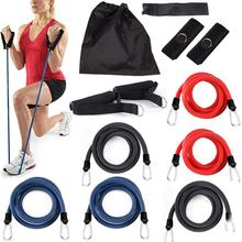 11 Pieces One Set Natural Latex Pull Strap Exercise Sport Body Stretching Belt Sport Resistance Bands Random Color Sport-0064