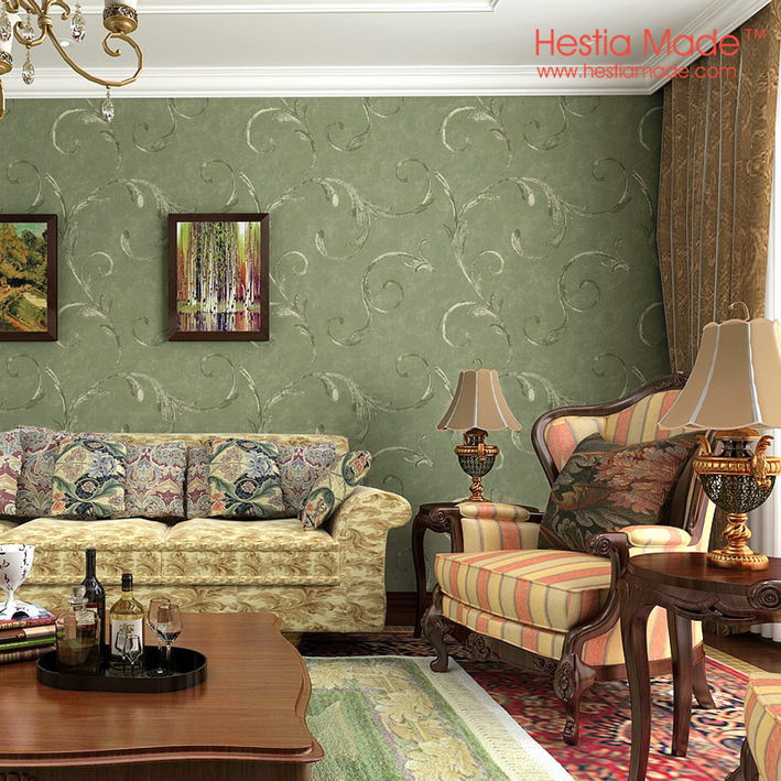 non woven wallpaper american antique style dark green