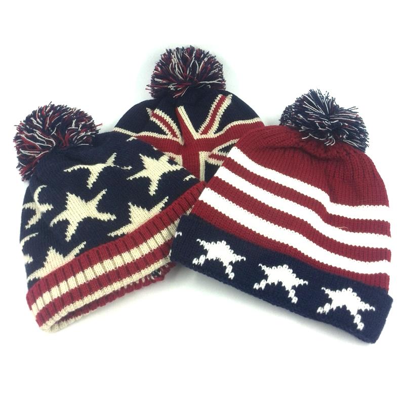 Ladies hats women fashion uk beanie hats 2016 knit Yarn warm flag star striped winter hat unisex paintball mask skullies(China (Mainland))