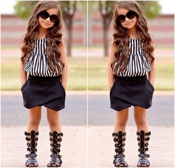 2015 Kids Baby Girls Vertical Stripe Tops Blouse Black Pants 2pcs Outfits 2~7Y