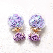 Buy Fashion Korea Rose Flower Wishing Star Pearl Earrings Glass Crystal Ball Double Sided Stud Earrings Women Fine Jewelry for $1.20 in AliExpress store