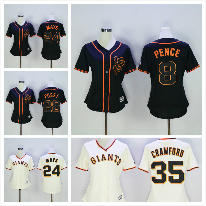 Womens 8 Hunter Pence 24 Willie Mays 28 Buster Posey Jersey Black Beige Throwback Jerseys(China (Mainland))