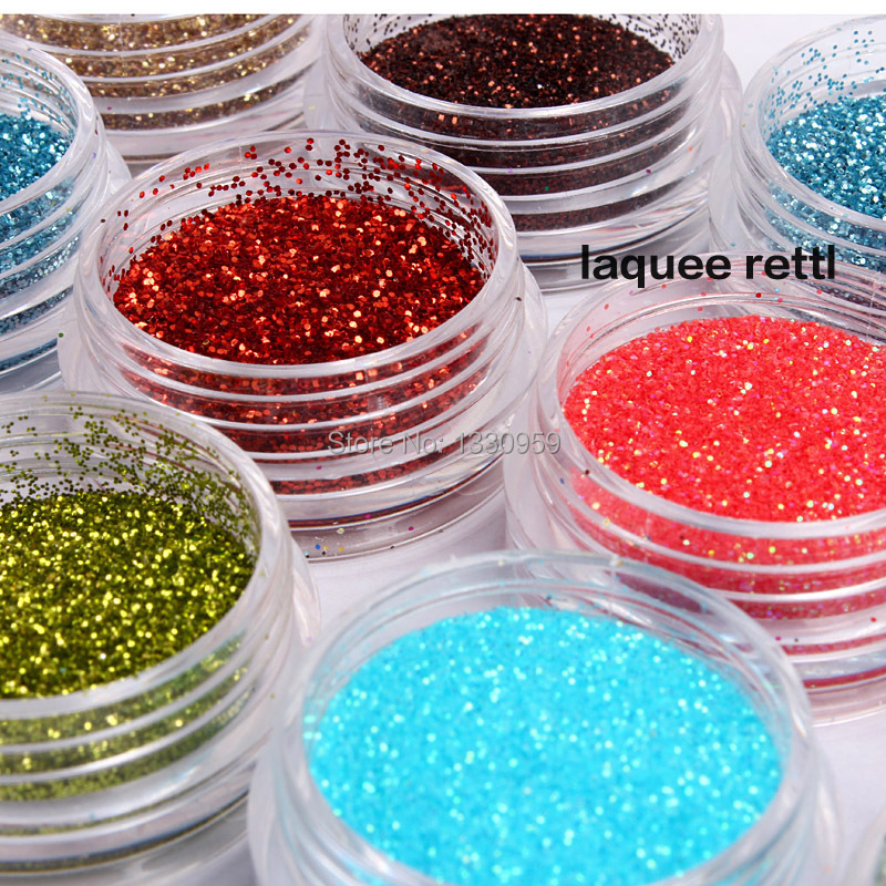 Free Shipping 12 Colors Metal Shiny Glitter Nail Art Tool Kit Acrylic UV Powder Dust gem Nail Tools Decoration(China (Mainland))