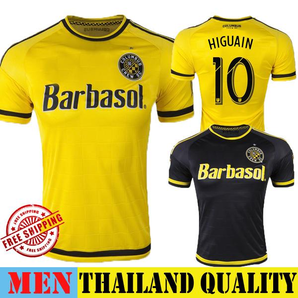 Columbus Crew SC Jersey 2015 Home Yellow HIGUAIN FRANCIS Soccer Jersey 15 16 Columbus Crew Football Shirt Away Black MLS Uniform(China (Mainland))