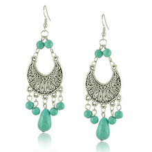 Tassel turquoise earrings dangling drop earings long hanging earing tassels tibetan dangle earrings for women tibetan jewelry(China (Mainland))