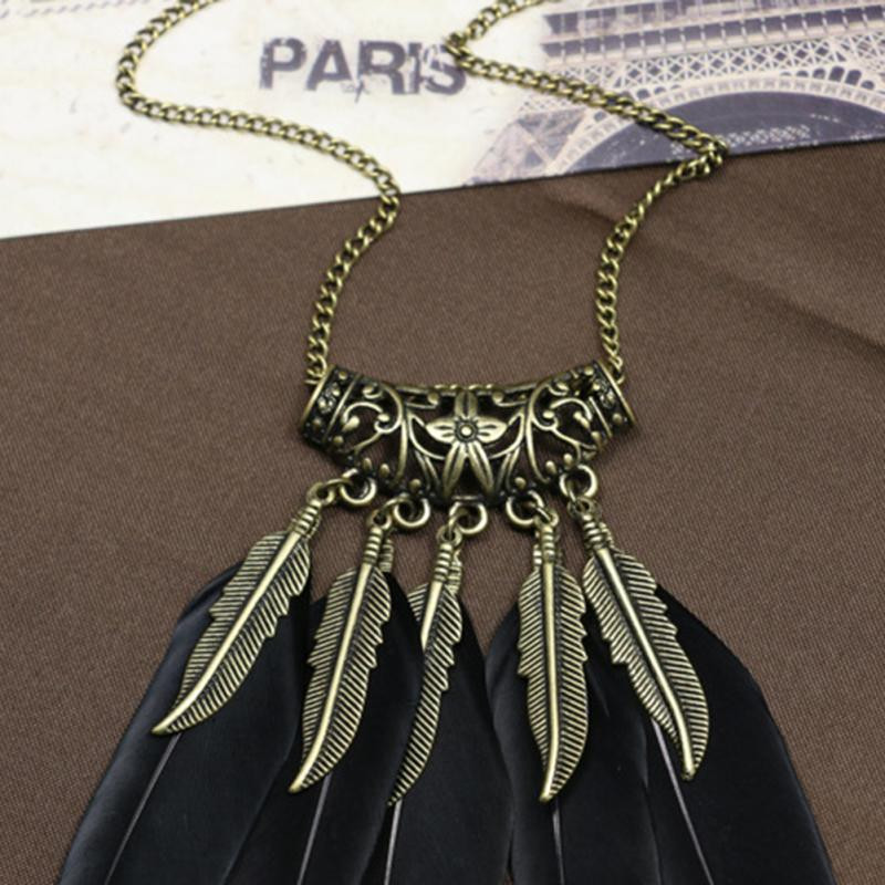 Bohemian Ethnic Indian Style Feather Pendant Necklace Vintage Retro Chain Necklace Fashion Collares Collier Femme[GE04163/YT]