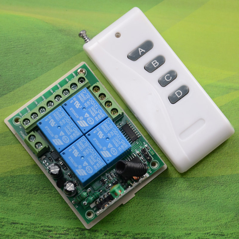 Smart home controller fixed code remote control switch + 12 v 4 road 1000 meters 4 key wireless remote control(China (Mainland))