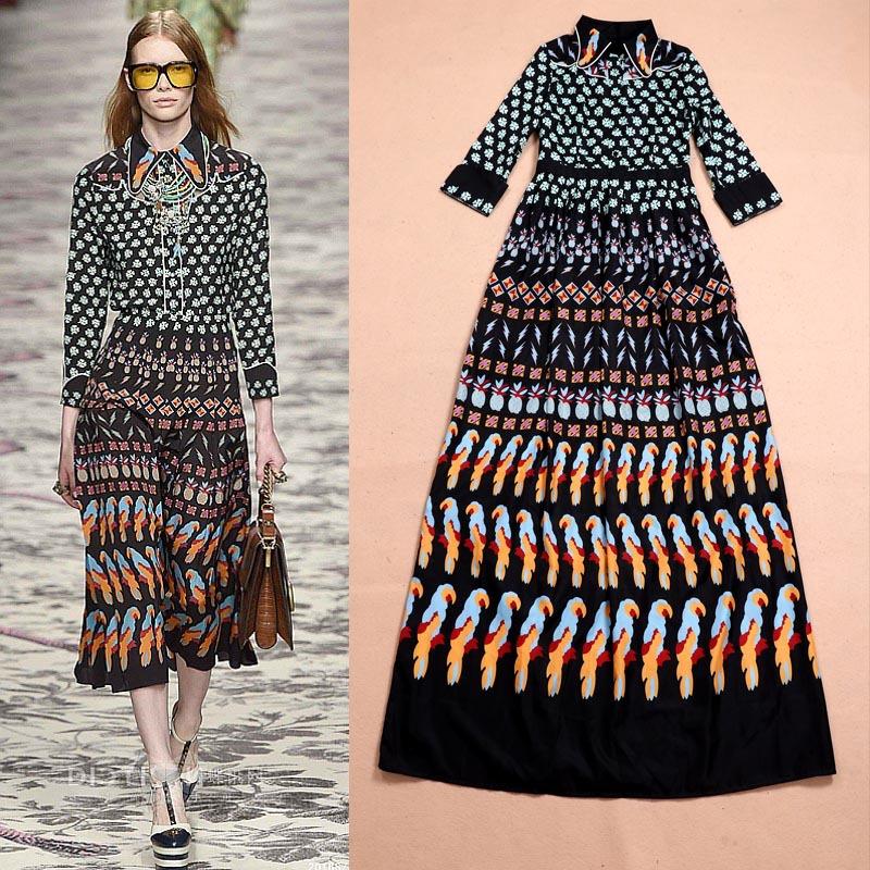 Early Spring 2016 New Fashion Runway  Printing Seven Sleeve Dress Temperament Big Swing Long DressОдежда и ак�е��уары<br><br><br>Aliexpress