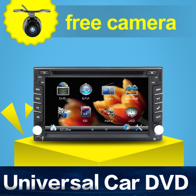 "Universal 2 Din 6.2"" In Dash Car DVD Player GPS/ Radio/FM/USB/SD/Bluetooth/TV HD digital touch screen full popular function free(China (Mainland))"