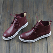 Black/Red Genuine Leather Ankle Boots For Women Pointed Toe Lace up Casual Flat Shoes Fashion Ladies Boots High Quality (w8001)